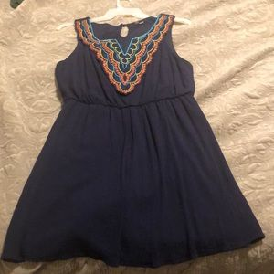 Blue dress with embroidered top